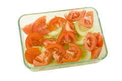Fresh Red Tomato and Cucumber Salad Royalty Free Stock Images