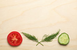 Tomato and cucumber slices with dill composition Stock Photo