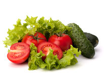 Tomato, cucumber vegetable and lettuce salad Royalty Free Stock Images