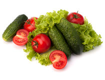 Tomato, cucumber vegetable and lettuce salad Stock Photo