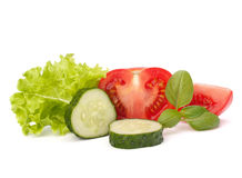 Tomato, cucumber vegetable and lettuce salad Stock Photography