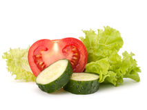 Tomato, cucumber vegetable and lettuce salad Royalty Free Stock Photos