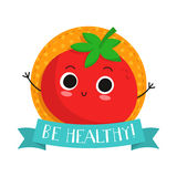 Tomato, cute vegetable vector character badge Royalty Free Stock Images