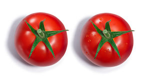 Tomato with and without dewdrops, top view, paths Stock Image