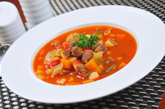 Tomato diced meat soup Stock Photos