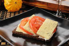 Tomato and dill cheese on pumpernickel bread Royalty Free Stock Photos