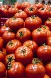 Tomato display at the farmers Market Stock Photos