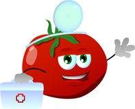 Tomato doctor with first aid kit Stock Image
