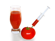 Tomato - donor juice and a glass of tomato juice. On a white background Stock Photos