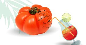 Tomato drinking a bloody mary Stock Photography