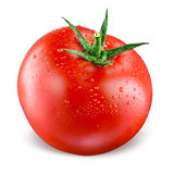 Tomato with drops isolated on white Stock Image