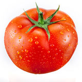 Tomato with drops isolated on white Stock Photo