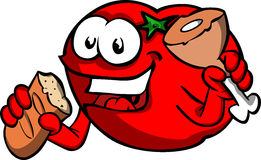 Tomato eating meat and bread Royalty Free Stock Image