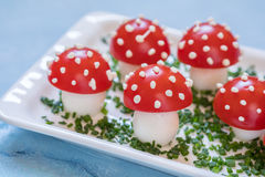 Tomato and egg appetizer look amanita Stock Image