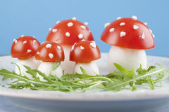 Tomato and egg fly agaric mushrooms Stock Image