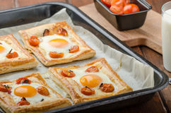 Tomato, Egg, and Prosciutto Tart Royalty Free Stock Photos