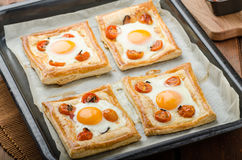 Tomato, Egg, and Prosciutto Tart Royalty Free Stock Photography