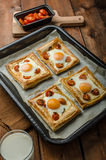 Tomato, Egg, and Prosciutto Tart Royalty Free Stock Images