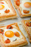 Tomato, Egg, and Prosciutto Tart Stock Photo