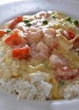 Tomato Egg Steam Shrimp Royalty Free Stock Image