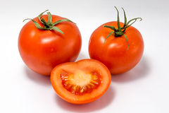 Tomato eyes and smile, face isolated on white background stock photo