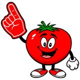 Tomato with Foam Finger Royalty Free Stock Images