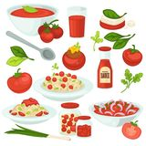 Tomato food meals, salads and dishes with tomatoes vegetable ingredient. Royalty Free Stock Photography