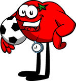 Tomato with football or soccer ball Stock Images