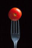 Tomato on fork Stock Photography