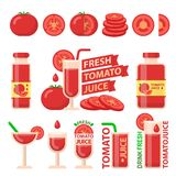 Tomato and fresh juice flat vector elements stock illustration