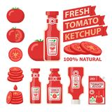 Tomato and fresh ketchup flat vector elements royalty free illustration