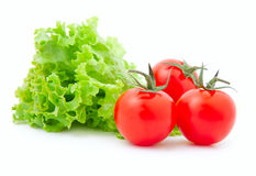 Tomato  and fresh lettuce. Red cherry tomato  and fresh lettuce, isolated on white background Royalty Free Stock Photo