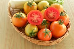 Tomato fruit vegetable basket Stock Image