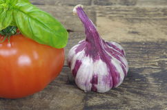 Tomato garlic and basil Royalty Free Stock Images