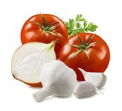 Tomato, garlic, onion and herbs isolated on white background. Package design element with clipping path royalty free stock images