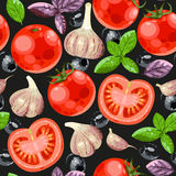 Tomato and garlic seamless Royalty Free Stock Images
