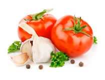 Tomato and garlic vegetables with parsley spice Stock Photography