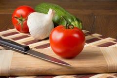 Tomato, Garlic and Zucchini Stock Photos