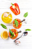 Tomato gazpacho soup with pepper Stock Images