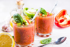 Tomato gazpacho soup with pepper Royalty Free Stock Image