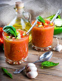 Tomato gazpacho soup with pepper Royalty Free Stock Photos