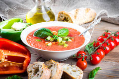 Tomato gazpacho soup with pepper Royalty Free Stock Photography