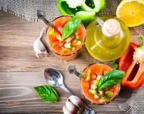 Tomato gazpacho soup with pepper Stock Photo
