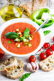 Tomato gazpacho soup with pepper Stock Photography