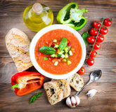 Tomato gazpacho soup with pepper Stock Photos