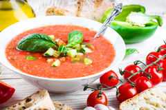 Tomato gazpacho soup with pepper Royalty Free Stock Images