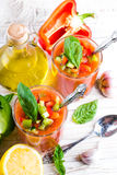 Tomato gazpacho soup with pepper Stock Image
