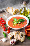 Tomato gazpacho soup with pepper Royalty Free Stock Photo