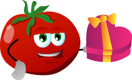 Tomato with gift for Valentines Day Stock Photography