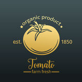Tomato golden badge Royalty Free Stock Images